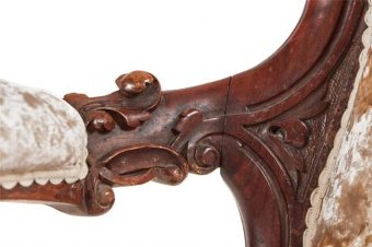 Antique 19TH CENTURY VICTORIAN CARVED WALNUT ARMCHAIR