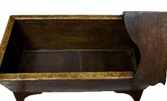 Antique 19TH CENTURY OAK INLAID CHILDRENS CRIB