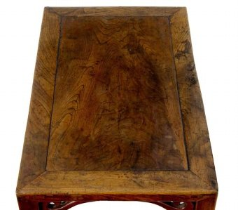 Antique 19TH CENTURY CARVED CHINESE ELM LOW TABLE