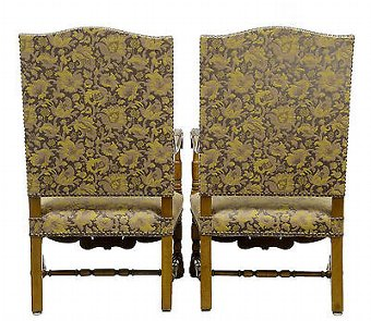 Antique 19TH CENTURY CARVED BAROQUE THRONE ARMCHAIRS
