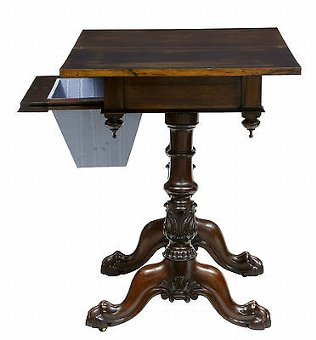 Antique 19TH CENTURY WILLIAM IV STUNNING ROSEWOOD WORK TABLE