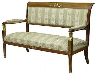 Antique 19TH CENTURY EMPIRE EGYPTIAN INFLUENCED MAHOGANY SOFA