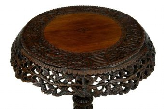 Antique 19TH CENTURY CARVED HARDWOOD CEYLONESE FLIP TOP TRIPOD TABLE