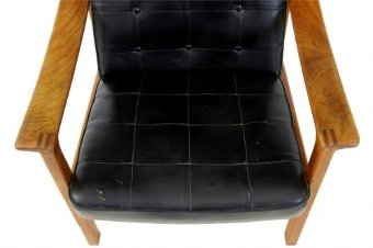 Antique 1960's SCANDINAVIAN MODERN TEAK RECLINING LEATHER ARMCHAIR