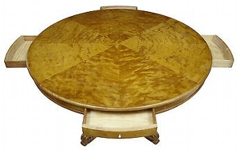 Antique 19TH CENTURY BIRCH SWEDISH CARVED DRUM CENTRE TABLE