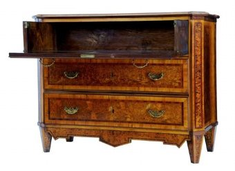 Antique 19TH CENTURY SWEDISH BURR ROOT CHEST OF DRAWERS COMMODE