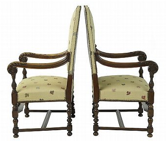 Antique 19TH CENTURY FRENCH CARVED WALNUT LARGE ARMCHAIRS
