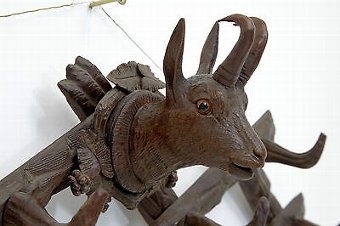 Antique BLACK FOREST DEER HEAD CARVED COAT HOOKS CIRCA 1880