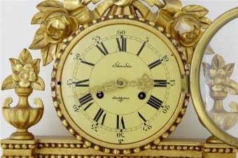 Antique 20TH CENTURY SWEDISH ORNATE GILT WALL CLOCK BY SKANDIA OF STOCKHOLM