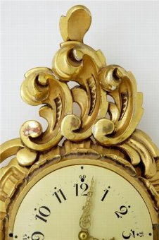 Antique 20TH CENTURY SWEDISH GILT CARVED ORNATE WALL CLOCK ROSS EXACTA