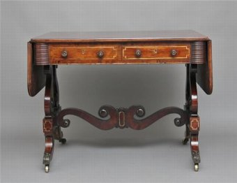 Antique 19TH CENTURY REGENCY ROSEWOOD BRASS INLAID SOFA TABLE
