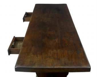 Antique 19TH CENTURY OAK TRESTLE BASE REFECTORY DINING TABLE