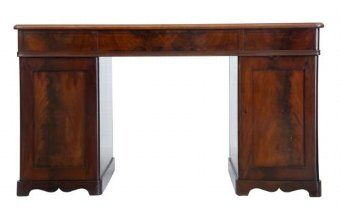 Antique 19TH CENTURY FLAME MAHOGANY PEDESTAL DESK