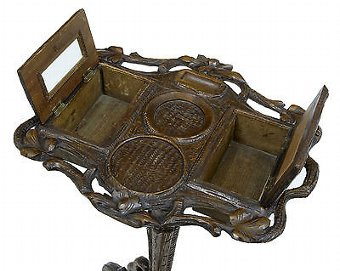 Antique 19TH CENTURY BLACK FOREST CARVED OAK TOBACCO STAND