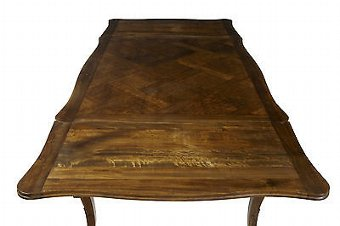 Antique 19TH CENTURY FRENCH WALNUT PARQUET FARMHOUSE DRAWLEAF TABLE
