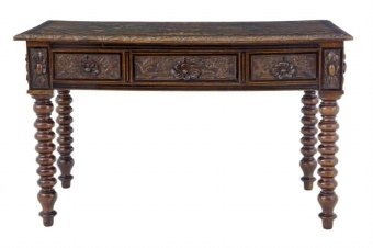 Antique 19TH CENTURY CARVED FRENCH OAK INLAID WRITING TABLE DESK