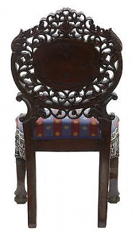 Antique 19TH CENTURY PROFUSELY CARVED BURMESE HARDWOOD CHAIR