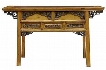 Antique 19TH CENTURY CHINESE CARVED CYPRESS WOOD ALTAR TABLE SIDEBOARD