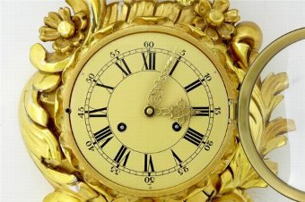 Antique 20TH CENTURY SWEDISH GILT CARVED WOOD WALL CLOCK FHS MOVEMENT