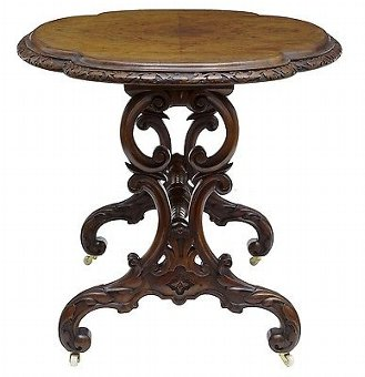 Antique 19TH CENTURY CARVED WALNUT OVAL SIDE TABLE
