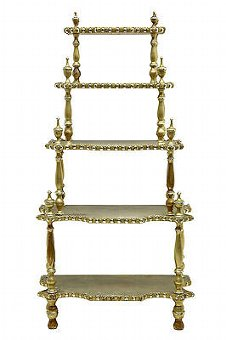 Antique 19TH CENTURY FRENCH GILT CARVED WHATNOT STAND