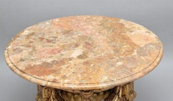 Antique 20TH CENTURY ITALIAN GILT WOOD AND MARBLE OCCASIONAL TABLE
