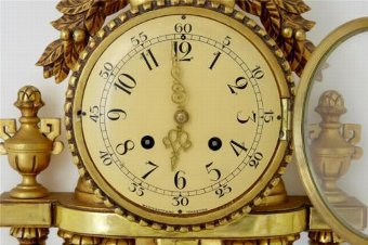 Antique 20TH CENTURY SWEDISH GILT CARVED WOOD ORNATE WALL CLOCK BY WESTERSTRAND