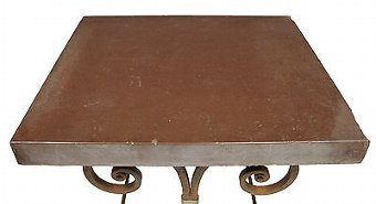 Antique 1920's FRENCH IRON BAKER TABLES MARBLE TOP