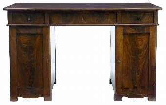Antique 19TH CENTURY MAHOGANY PEDESTAL KNEEHOLE DESK