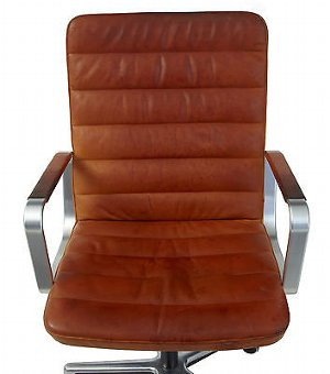 Antique 20TH CENTURY SCANDINIVIAN MODERN LEATHER AND CHROME OFFICE CHAIR BY JOC