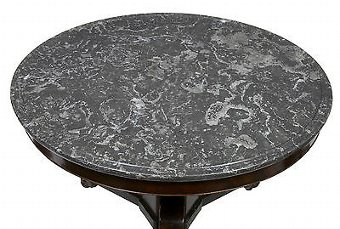 Antique 19TH CENTURY FRENCH MAHOGANY AND SIMULATED PORPHYRY GUERIDON CENTER TABLE