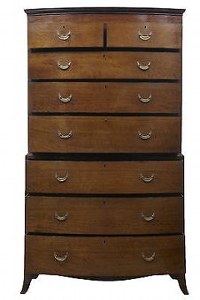 Antique 19TH CENTURY BOWFRONT MAHOGANY CHEST ON CHEST