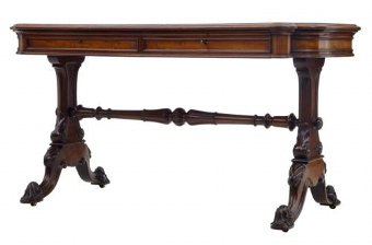 Antique 19TH CENTURY LEATHER AND MAHOGANY WRITING TABLE DESK BY JOHNSTONE & JEANES