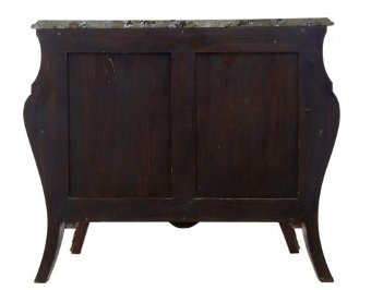 Antique 20TH CENTURY WALNUT INLAID ROCOCO INFLUENCED COMMODE CHEST OF DRAWERS