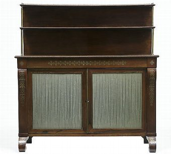 Antique 19TH CENTURY REGENCY ROSEWOOD BRASS INLAID CHIFFONIER CABINET