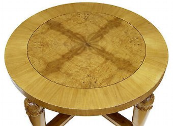 Antique ART DECO SWEDISH CARVED BIRCH AND ELM COFFEE TABLE