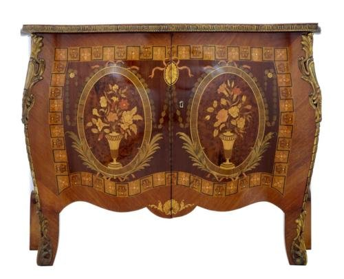 Antique 20TH CENTURY INLAID WALNUT CABINET COMMODE