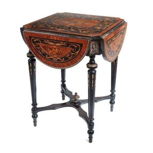 19TH CENTURY FRENCH MARQUETRY INLAID DROPLEAF TABLE