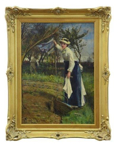 Antique 19TH CENTURY OIL ON CANVAS RURAL SCENE BY JOHN ROBERTSON REID