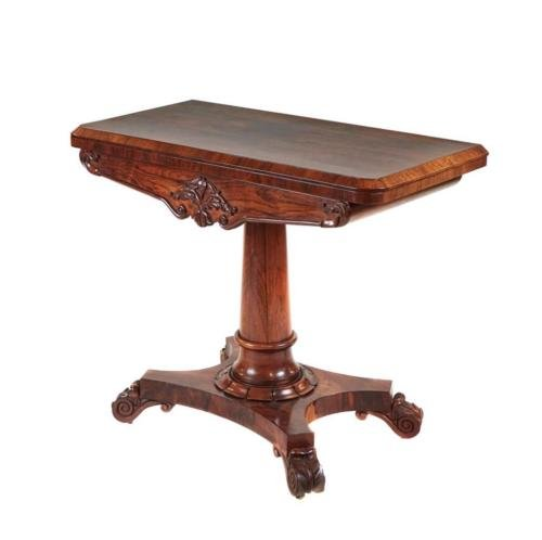 19TH CENTURY WILLIAM IV ROSEWOOD CARD TABLE