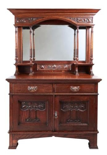 19TH CENTURY OAK ARTS AND CRAFTS MIRRORED SIDEBOARD