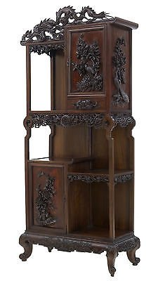 19TH CENTURY CARVED ORIENTAL HARDWOOD CHINESE DISPLAY CABINET