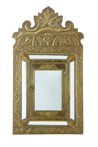 Antique ART NOUVEAU BRASS SMALL CUSHION MIRROR CABINET