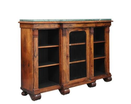 19TH CENTURY WILLIAM IV ROSEWOOD BREAKFRONT BOOKCASE CABINET