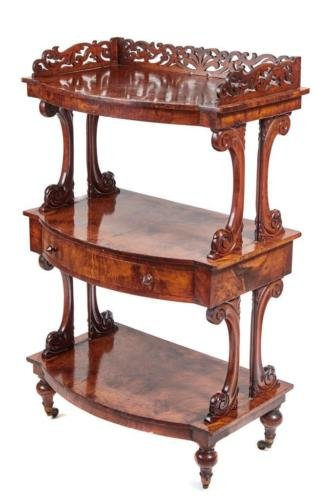 19TH CENTURY HIGH VICTORIAN BURR WALNUT WHATNOT