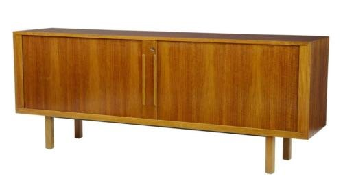 Antique 20TH CENTURY SWEDISH TEAK TAMBOUR FRONT SIDEBOARD BY ATVIDABERGS