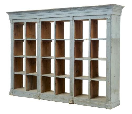 19TH CENTURY ARCHITECTURAL PAINTED PINE SHELVING CABINET
