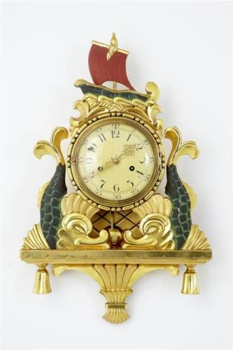 Antique 20TH CENTURY 1940's GILT AND PAINTED SWEDISH WALL CLOCK