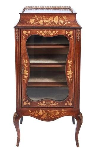 19TH CENTURY ROSEWOOD MARQUETRY INLAID DISPLAY CABINET