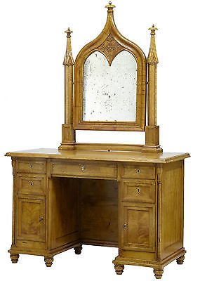 19TH CENTURY SWEDISH BIRCH GOTHIC VANITY DRESSING TABLE AND MIRROR